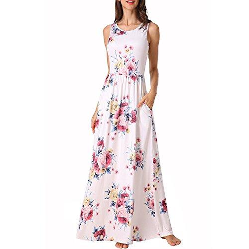 ♡QueenBB♡ Women Sleeveless Summer Dress,Loose Dress Long Maxi Evening Party Beach Dress Floral Sundress 2019 White