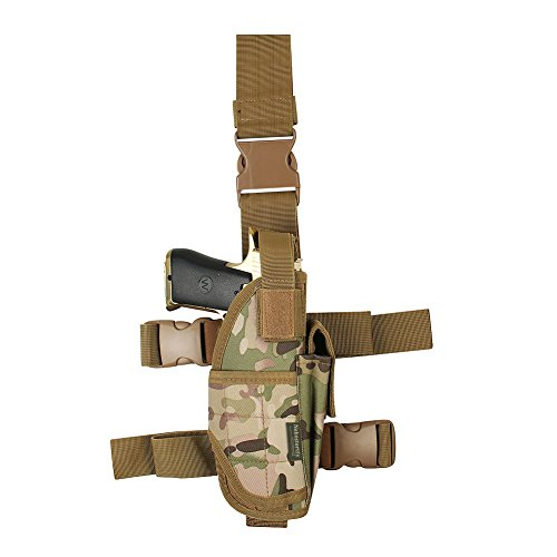 Nehostertfy Tactical Leg Holster, Drop Leg Gun Holster Adjustable Thigh Pistol Pouch(XL)