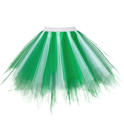 URVIP Women's Vintage 1950s Tutu Multicolor Petticoat Ballet Bubble Dance Skirt White Green S/M