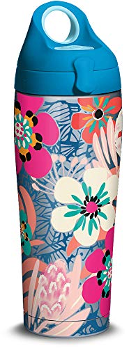 Tervis 1311291 Bright Wild Blooms Insulated Travel Tumbler with Lid 24 oz Water Bottle - Stainless Steel, Silver (Flowers Water Bottle Stainless)