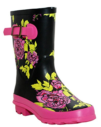 Snow Boots Festival Womens Short Mud Mid Wellies Floral Calf Girls Rain Wellington New Ladies Waterproof Multi Black 8fYqw7