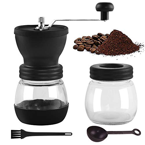 Manual Coffee Grinders, Portable Hand Coffee Mill with Adjustable Ceramic Burrs, Cleaning Brush,...