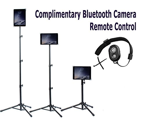 Universal Floor IPad and Tablet Tripod Stand Mount +COMPLIMENTARY BLUETOOTH SHUTTER REMOTE. Fits iPad mini, iPad Air, Samsung Galaxy, Dell, Sony, Microsoft Surface, Google Nexus CARRYING CASE INCLUDED (Camara De Fotos)