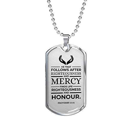 (Express Your Love Gifts Proverbs 21:21 Stainless Steel Silver Tone Military Dog Tag Necklace w 24
