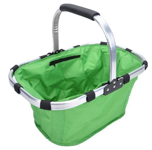 (Promotion: Picnic insulated tote basket, Collapsible & Foldable, strong, lightweight,easy to carry, good for fruits,picnic stuff,clothes and shopping(Green))