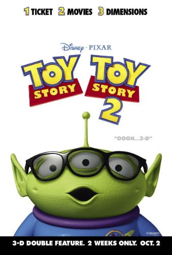 TOY STORY 1 AND 2 3D DOUBLE FEATURE MOVIE POSTER 2 Sided ORIGINAL 27x40