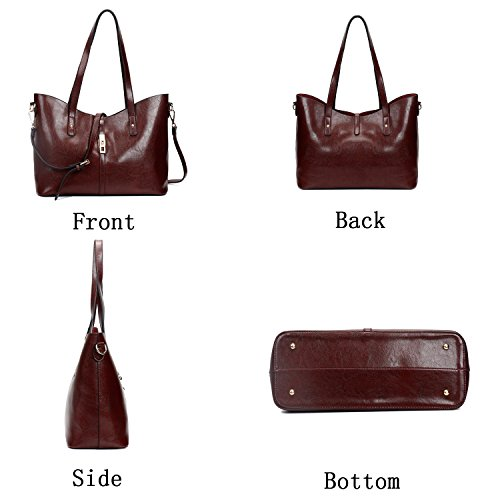 Synthetic hands 4pcs Bags Top Vintage ELIMPAUL Leather Shoulder Handbags Bag bag Women stylish Purse Coffee Tote 7HnwXq8