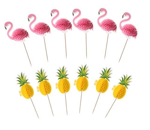 Price comparison product image UUPP 60 Pieces Pineapple and Flamingo Cupcake Cake Toppers Party Cocktail Tropical Cupcake Picks Decoration,  30 Pcs Flamingo Toppers + 30 Pcs Pineapple Toppers