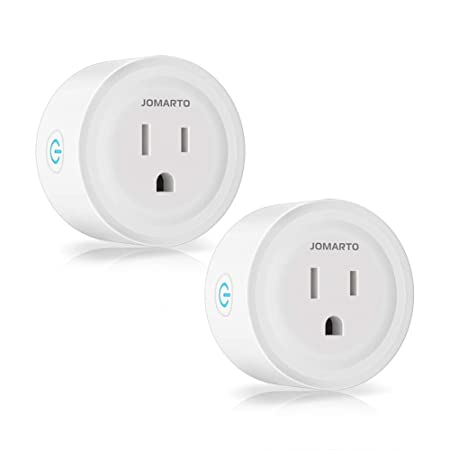 WiFi Smart Plug Outlet, 2 Pack Mini Smart Socket Compatible with Amazon Alexa, Google Home and IFTTT, APP Remote Control and Timer Function No Hub Required,Overload Protection,Space-Saving by JOMARTO