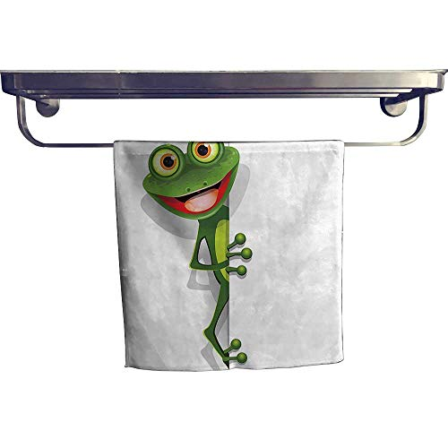 Leigh home Pool Gym Towels, Jolly Frog with Greater Eye Lizard Gecko Smily Childish Funny Cartoon Artwork,Good Ideal for The Kid's Room, a Guest Room W 10