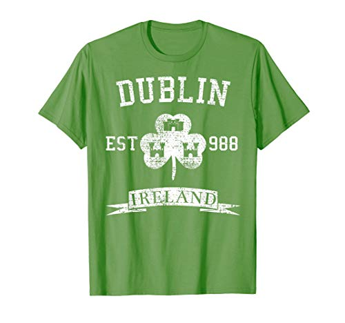 Dublin Vintage T-Shirt Green Irish Ireland Shamrock Est 988