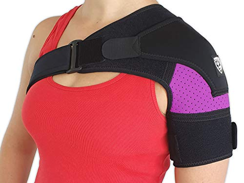 Shoulder Brace Support by Strong AID. for Rotator Cuff Pain AC Joint Dislocated Frozen Tear Injury Adjustable Compression Stability Sleeve (Purple, S-M)