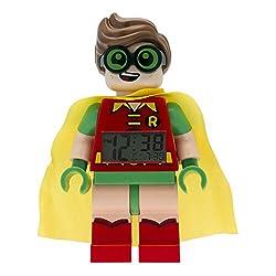 Lego Batman 9009358 Robin Kids Minifigure Alarm Clock | red/Green | Plastic | 9.5 inches Tall | LCD Display | boy Girl | Official