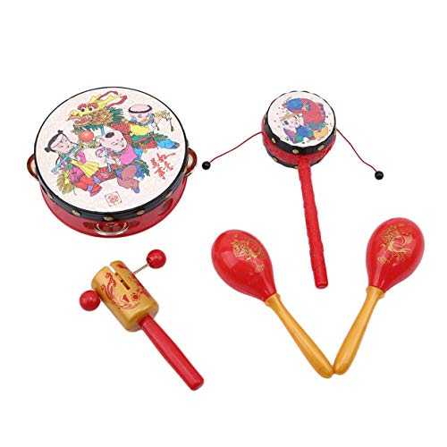 - Xeminor Creative 5PCS Chinese Festival Children Rattles Music Toy Baby Hand Bell Drums Percussion Fun Gift