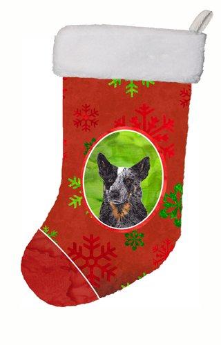 11 x 18 Carolines Treasures SC9436-CS Australian Cattle Dog Red Snowflakes Holiday Christmas Stocking Multicolor