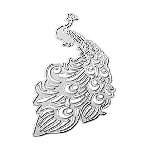 Stencil Peacock, ZTY66 Metal Silver Cutting Dies for DIY Scrapbooking Embossing Album Paper Card Craft