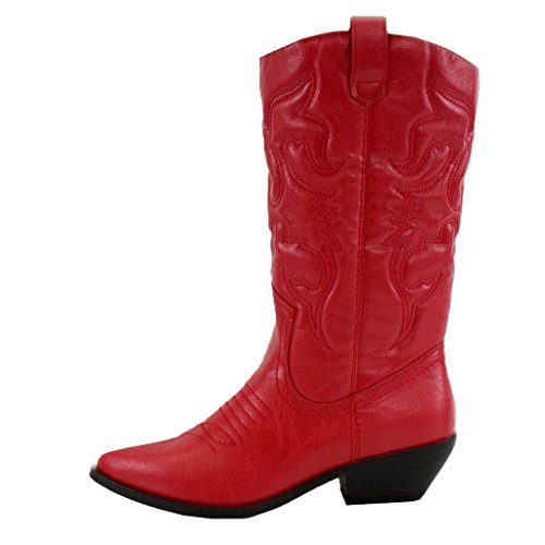 12c0364adb7 Galleon - Soda Women Cowgirl Cowboy Western Stitched Boots Pointy ...