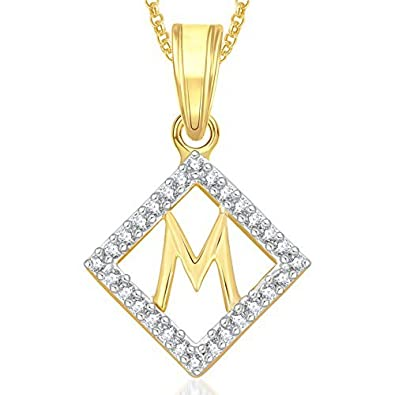 Buy valentine gifts meenaz gold plated m letter pendants alphabet valentine gifts meenaz gold plated m letter pendants alphabet pendant with chain for men aloadofball Images
