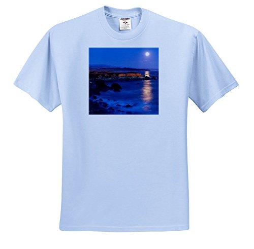 3dRose Danita Delimont - Oceans - Full Moon Rising Over Piedras blancas, San Simeon, California - T-Shirts - Youth Light-Blue-T-Shirt XS(2-4) (TS_278650_59) (San Two Light Simeon)