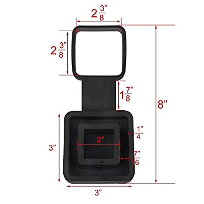 WOFTD Trailer Hitch Tube Cover, 2-Inch Rubber Trailer Receiver Plug Cap Fits Standard 2