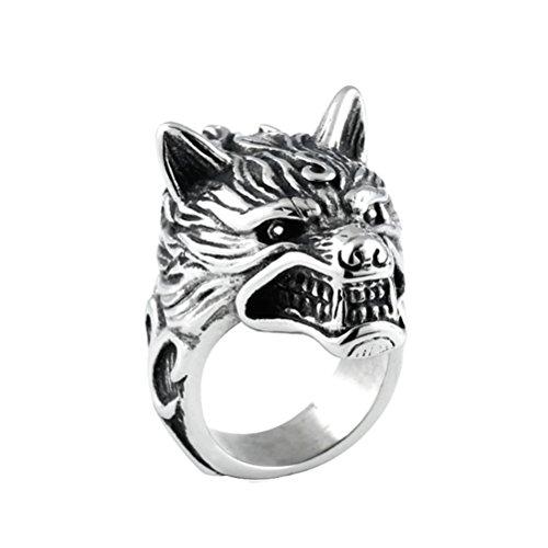 HIJONES Herren Edelstahl 316l Wolf Kopf Ritter Ring Gothic Biker