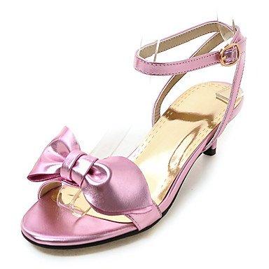 Verano Guantes Mujer Sandalias outddor vestido de piel sintética de Kitten Heel de-Zapatos de tacón de correa de talón Club de oro plata color rosa rosa
