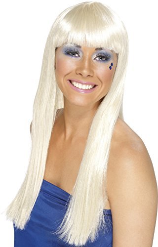 Smiffys Women's Long Blonde Wig with Bangs, One Size, Dancing Queen Wig, 5020570420980