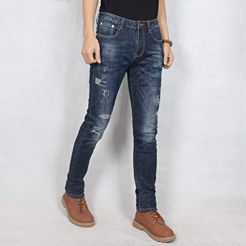 Strappato Elastico Vintage Jeans Blaublack Slim Pantalone Stile Fit In Casual Semplice Da Con Uomo Strappati Xxqwzg