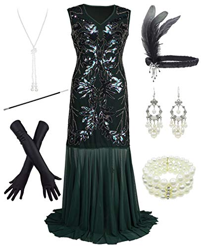 1920s Sequin Mermaid Formal Long Flapper Gown Party Evening Dress with 20s Accessories Set Green