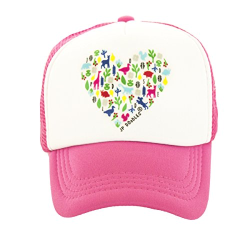 Little Bitty Hat - JP DOoDLES Heart on Kids Trucker Hat. Kids Baseball Cap is Available in Baby, Toddler, and Adult Sizes. (HOT Pink, Youth 5-7 YRS)