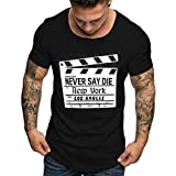aiNMkm Workout Shirts Tall,Summer Men's Fashion Casual Color Round O-Neck Print Short Sleeve Top Blouse,Black,L