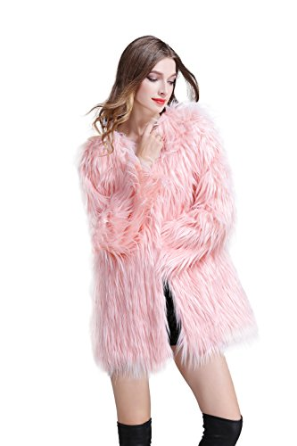 Erencook Pink Women's Faux Fur Coat Long Jacket ()