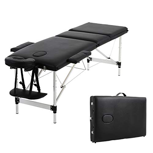 Soges Massage Table 73 inch Massage Bed 3-section Aluminum Frame Portable Spa Bed Folding Facial Bed Adjustable Lash Bed Tattoo Table with Headrest Armrest, Black, KH3108S-BK