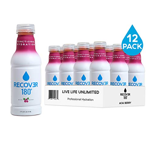RECOVƎR 180 Hydration Drink for Functional Performance, Sports and Everyday Electrolytes Beverage, 16 Ounce (12 Pack, Acai Berry)