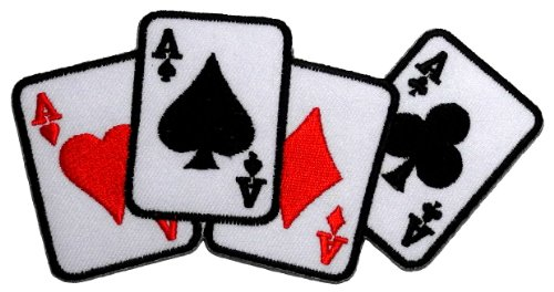 Poker Cotton Hat - Playing Card Four Aces Poker DIY Applique Embroidered Sew Iron on Patch