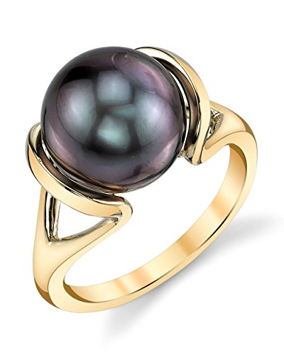 THE PEARL SOURCE 14K Gold 10-11mm Round Genuine Black Tahitian South Sea Cultured Pearl Hanna Ring for Women