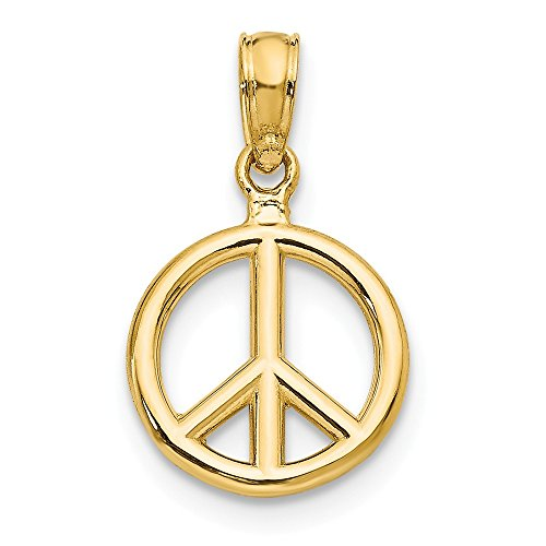 Jewel Tie 14k Yellow Gold Polished Peace Symbol Pendant (10mm x 15mm)