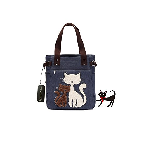 Year End Clearance Sale-Valentoria Cute Cat Design Multifunction Women's Canvas Zipper Closure Handbag Shoulder Lunch Tote Bag with Large Capacity Best Gifts for Teen Girls(Dark Blue)
