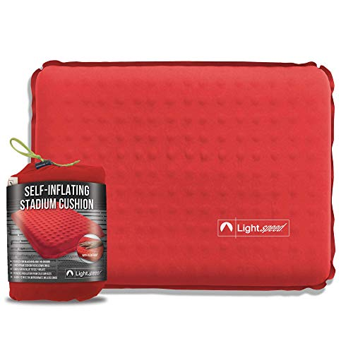 Lightspeed Outdoors Self-Inflating Stadium Seat Cushion with an Integrated Carry Bag (Red) (Seat Thermarest Z)