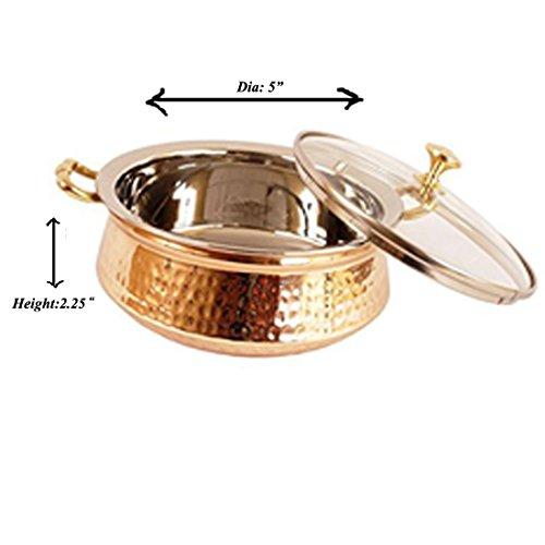 Prisha India Craft SMALL SIZE Handmade Steel Copper Casserole with Lid- Copper Serving Handi Bowl - Copper Serveware Dishes Bowl Dia - 5.00