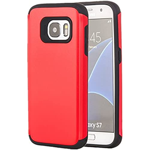 Galaxy S7 Case, Tuff Armor Rugged Hybrid Dual Layer Heavy Duty Protective Phone Cover Case (Red) Sales
