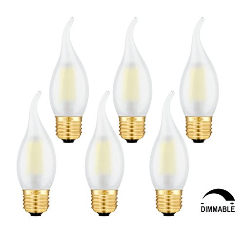 CRLight 4W Dimmable LED Filament Candle Light Bulb, 5000K Daylight White 400LM, 40W Equivalent, E26 Medium Base Chandelier Lamp, C35 Flame Shape Bent Tip, Frosted Glass Cover, Pack of (Crystal Chandelier 6 Base Lamps)