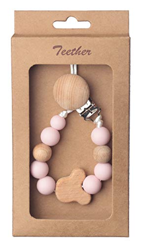 Beebeez Pacifier Clip for Baby Teething Silicone and Wood Beads with Wooden Bear- 2-in-1 Holder for Newborn - Infant Baby Shower Gift - Best for Teether Toys (Light Pink)
