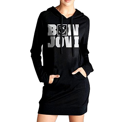 Korean National Costume Female (NETTIE Women Bon Jovi Have A Nice Day Tour Casual Style Hoodie Dress Kangaroo Front Pocket Hoodies Leisure Style L Black)