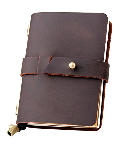 Leather Travel Journal, Handmade Travelers Notebook Refillable, Gift for Men & Women, Perfect to write in, 3 Inserts/192 Pages Vintage Travel Diary, Pocket Size 5.2