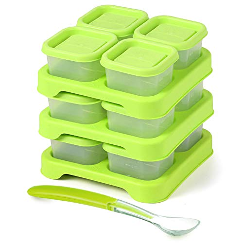 Matyz Baby Food Freezer & Storage Containers with Clip-On Lid (2oz each, Set of 12) - Stackable Tray Save Space - Bonus Spoon - Easily Portion, Store, Freeze, Carry, Heat & Serve Homemade Baby Food