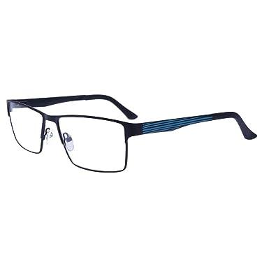 3fe426d082f Mens Rectangle Full-Rim Metal Shining Non-Prescription Optical Glasses with Clear  Lenses (