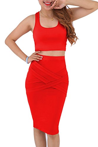 YMING Womens Sexy Crop Top Skirt Two Piece Club Bodycon Bandage Dress, Red, XX-Large