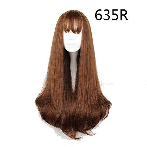 70Cm Japan And South Korea Synthetic Hair Air Bang Mix Color Harajuku Cosplay Wig 100% High Temperature Fiber Wig,4/27Hl,30inches -