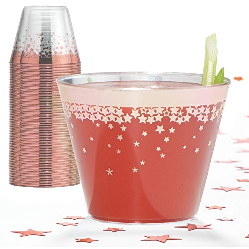Rose Gold Plastic Party Cups – 9 Oz Disposable Plastic Tumblers 100 Count Clear Cocktail Glasses Tumblers Great Party & Hosting Supplies Wedding Showers Birthdays Bonus Decorative Star Design Conffeti ()